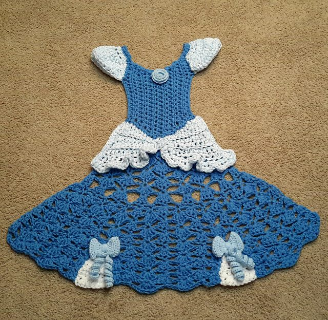 blue crochet princess dress blanket