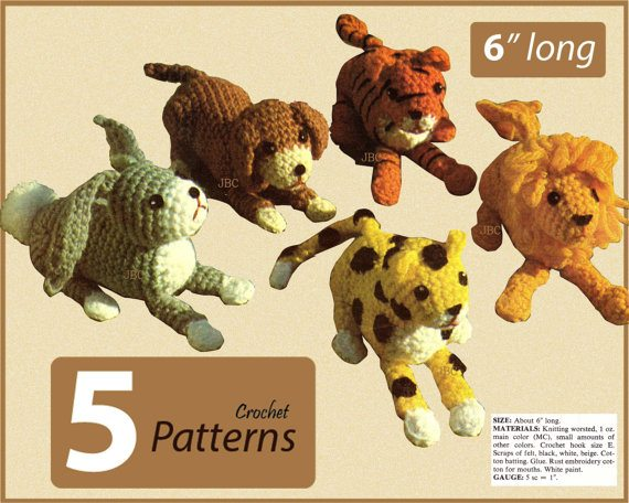 crochet leopard toy pattern set