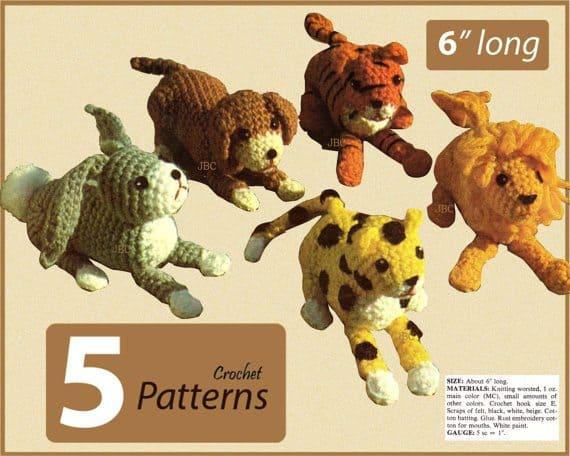crochet leopard toy pattern set