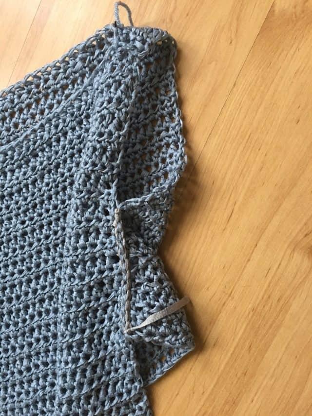 side view of crochet sleeve WIP