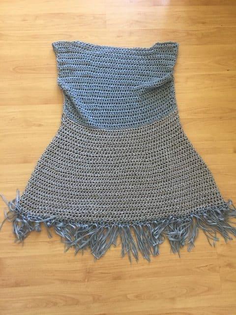 crochet tencel yarn dress with fringe