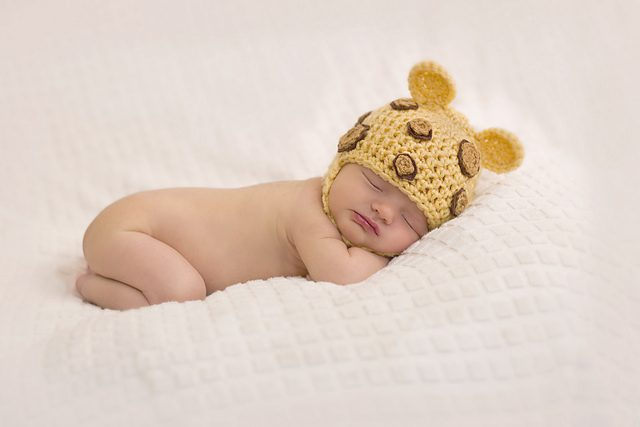 leopard chin strap crochet hat for babies