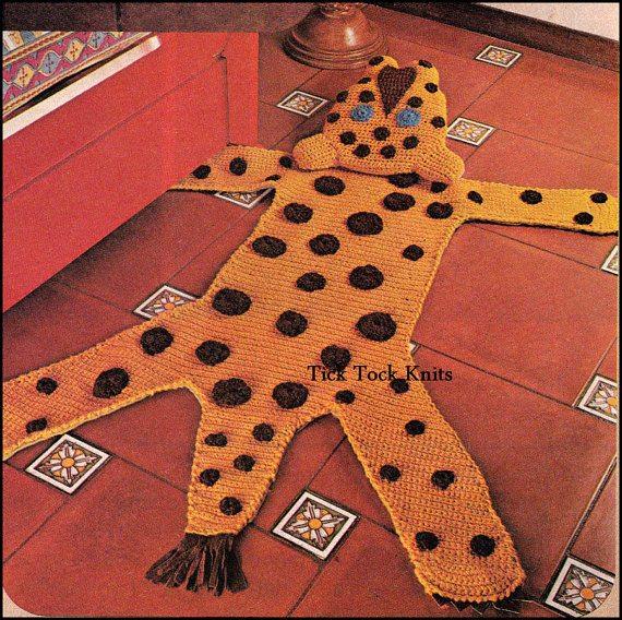 leopard crochet rug vintage pattern