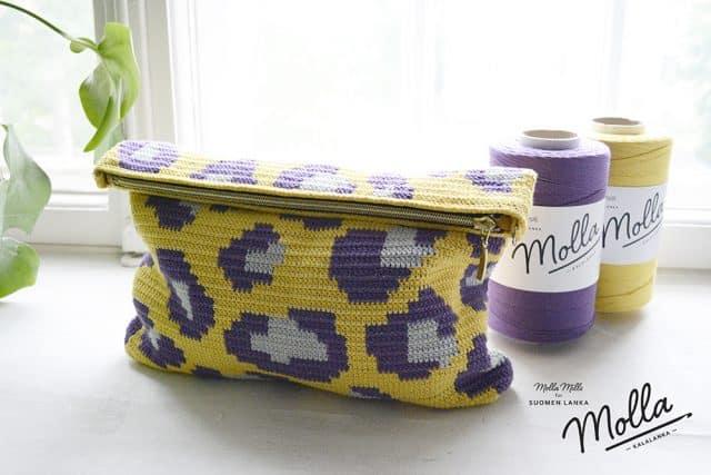 leopard print pouch free crochet pattern by molla mills