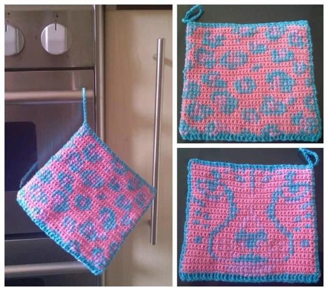 leopard print potholder crochet pattern