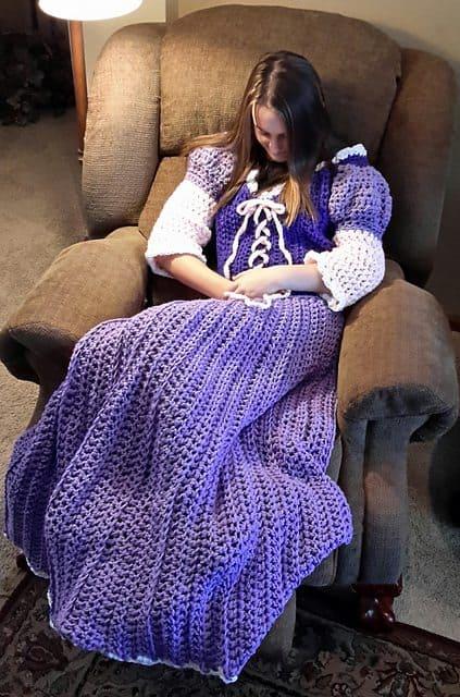 purple crochet princess dress blanket