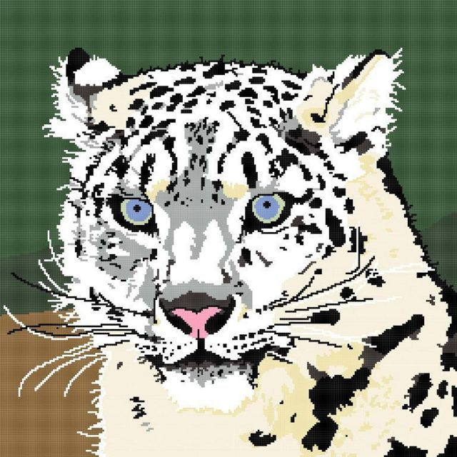 snow leopard crochet graph pattern