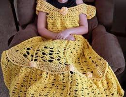 yellow crochet princess dress blanket