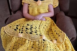 yellow crochet princess dress blanket