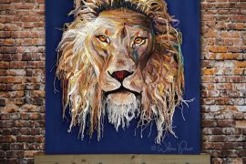 crochet lion art by Wilma Poot