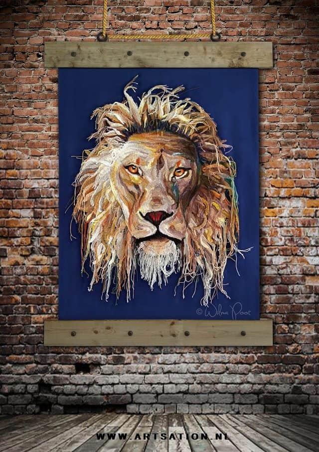 crochet lion art by Wilma Poot
