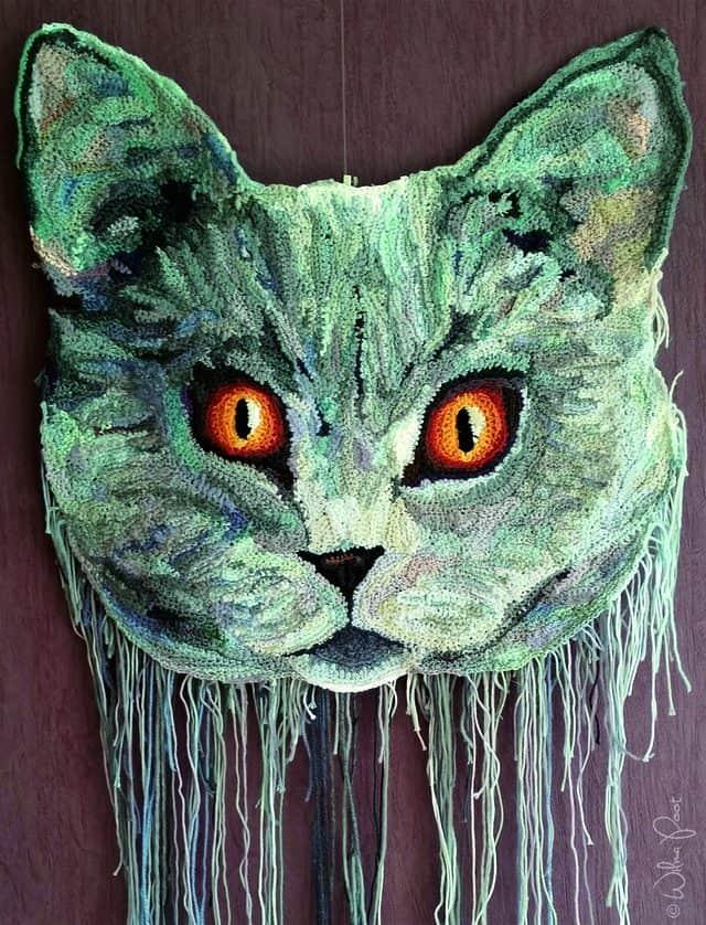 crochet art cat by Wilma Poot
