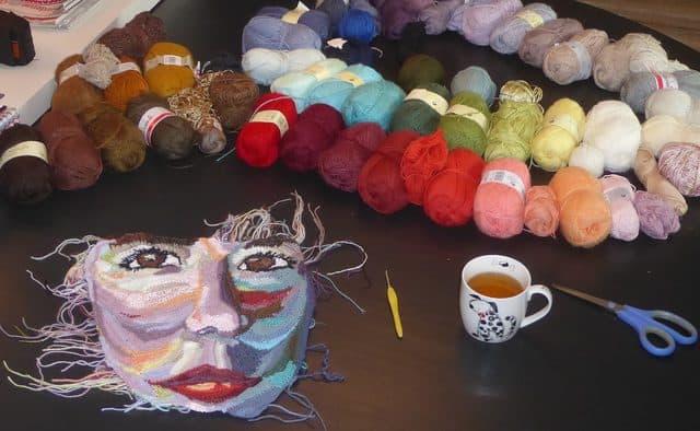 self-portrait crochet art of Wilma Poot WIP