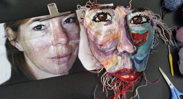 crochet self portrait by Wilma Poot
