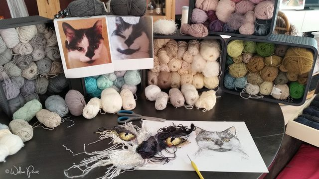 crochet art cat in progress