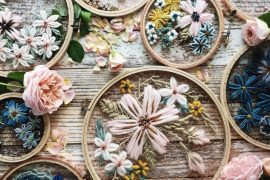 floral crochet embroidery art
