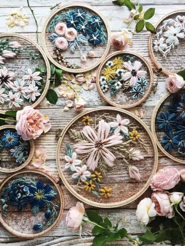 uncinetto ricamo floreale arte
