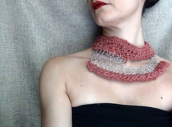 crochet art necklace by wearitcrochet