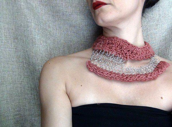 crochet art necklace by wearitcrochet