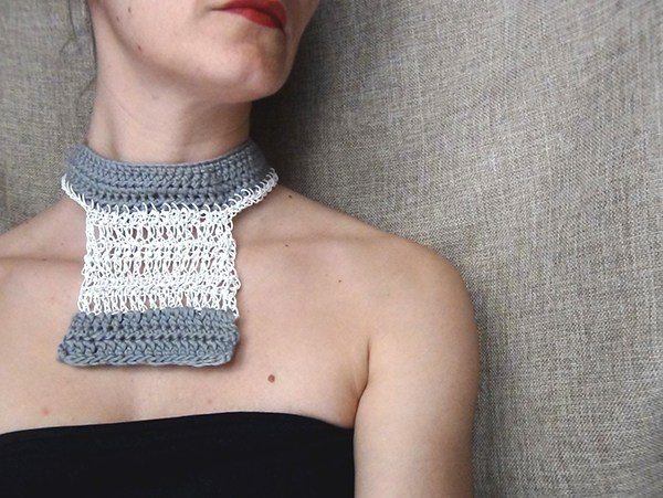 crochet fiber art necklace by wearitcrochet