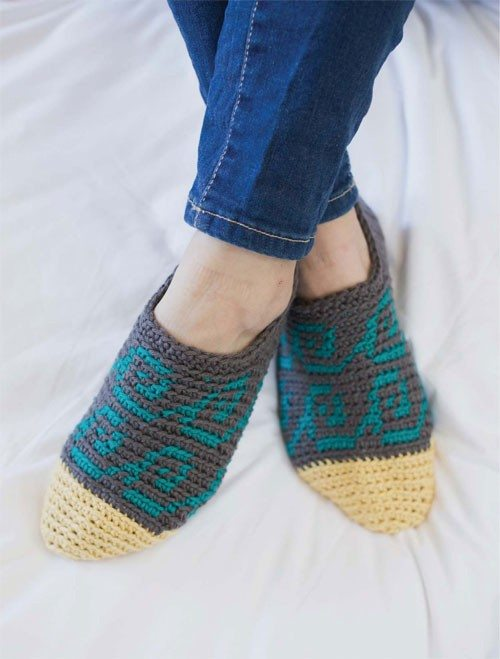 tapestry crochet slippers by alessandra hayden