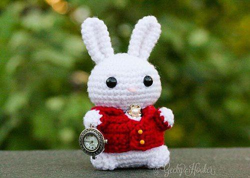 white rabbit amigurumi in literary yarns