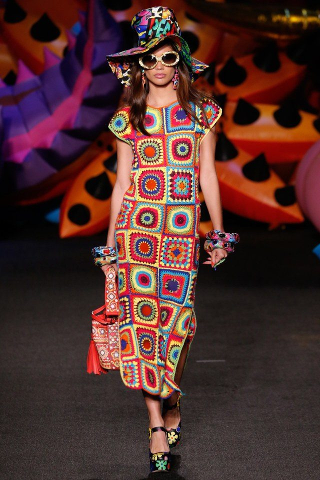 granny square crochet dress by moschino
