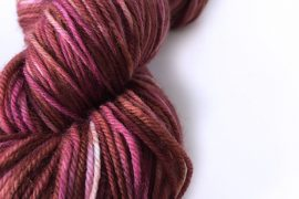 "Australian Merino – Sport Weight – 413 yards – ""Raspberry Chocolate Swirl"""