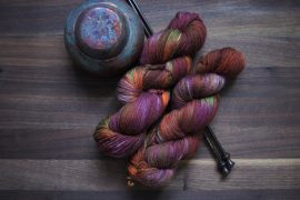 "Superwash Merino – DK – 243 yards – ""Wild Plums and Oranges"""